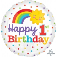 1st Birthday Rainbow 18寸鋁膜氣球